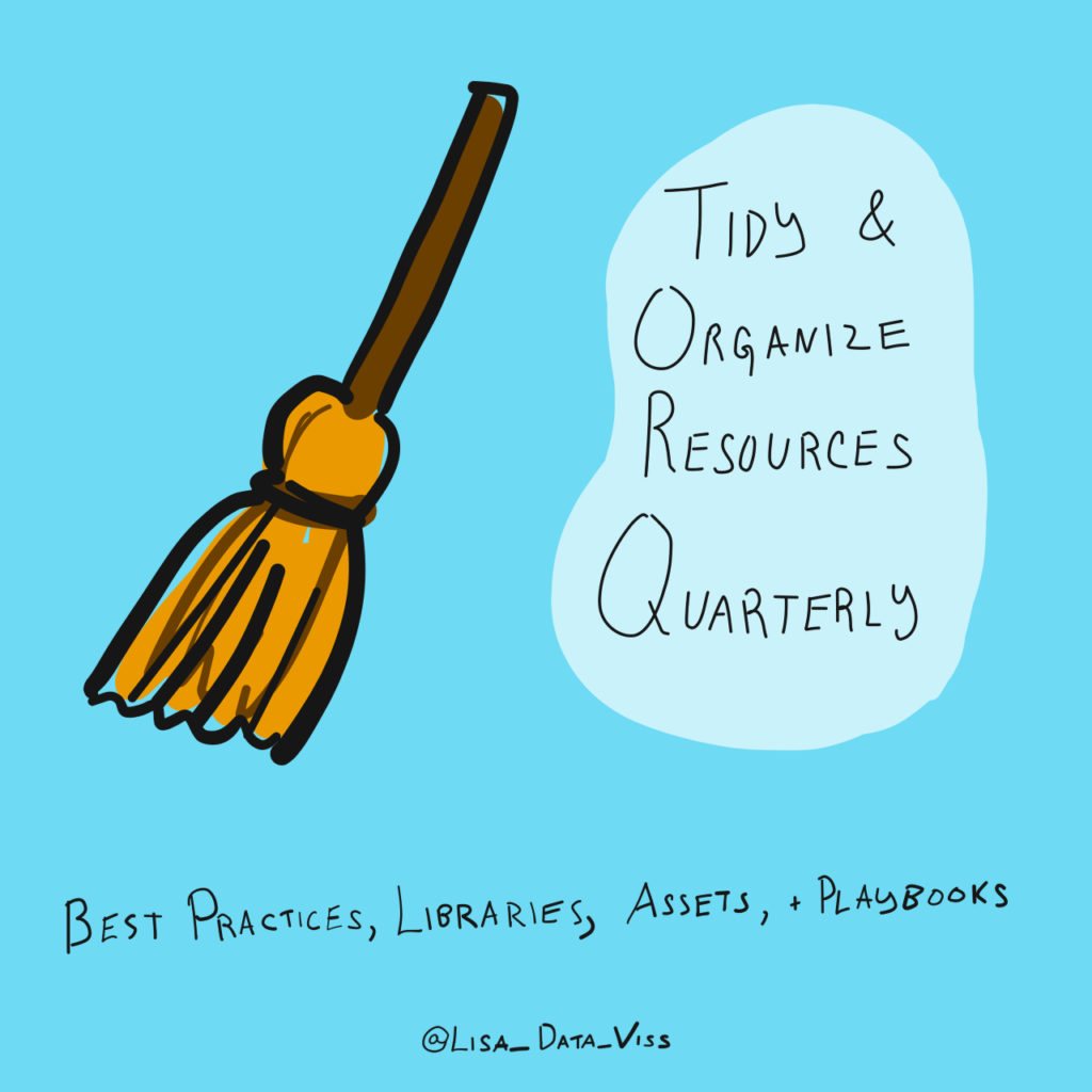 Tidy and Organize Resources Quarterly: best practices, libraries, assets, and playbooks